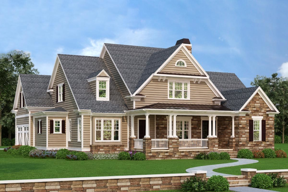 Front rendering of the 4-bedroom two-story modern farmhouse.