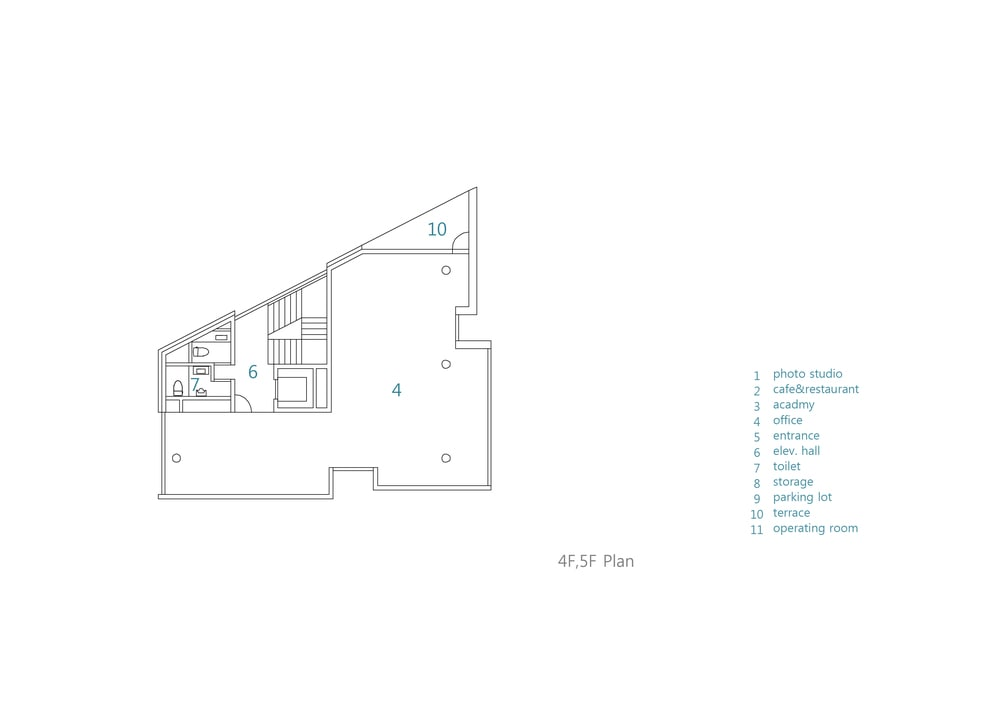 This is an illustration of the house's fourth and fifth level floor plan.