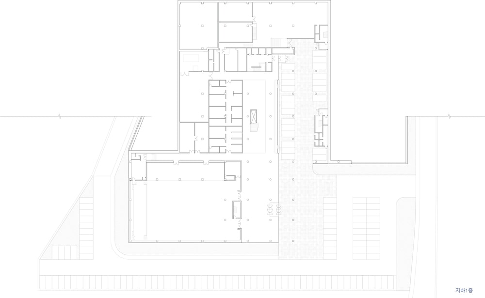 This is the illustration of the basement 1 level floor plan for the building.