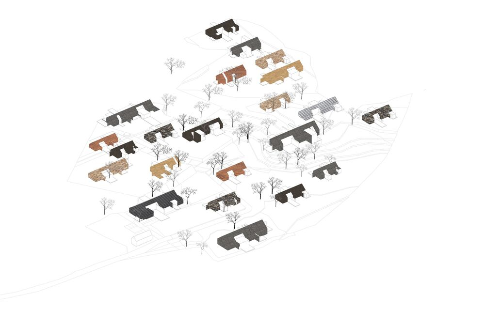 This is an illustration of a group of houses with the same design.