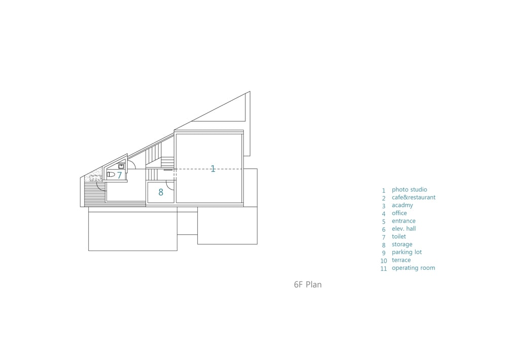 This is an illustration of the house's sixth level floor plan.
