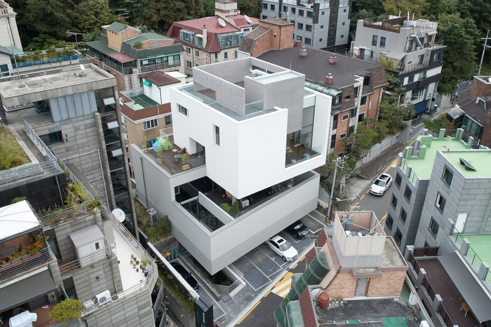 This is a closer aerial view of the building that showcases the unique askew design of the building's levels.