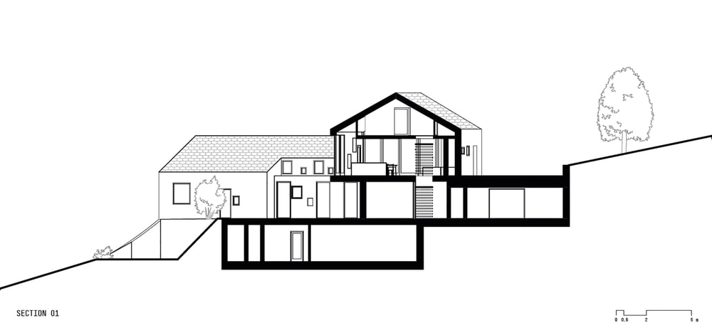 This is an illustration of the house's elevation and surrounding terrain and structure.
