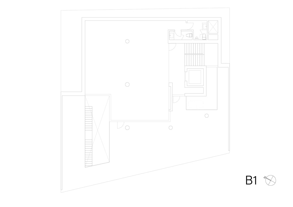 This is the illustration of the basement 1 level floor plan.