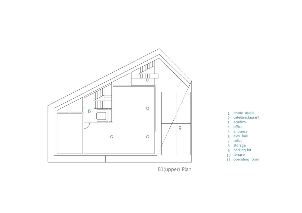 This is an illustration of the house's basement upper level floor plan.