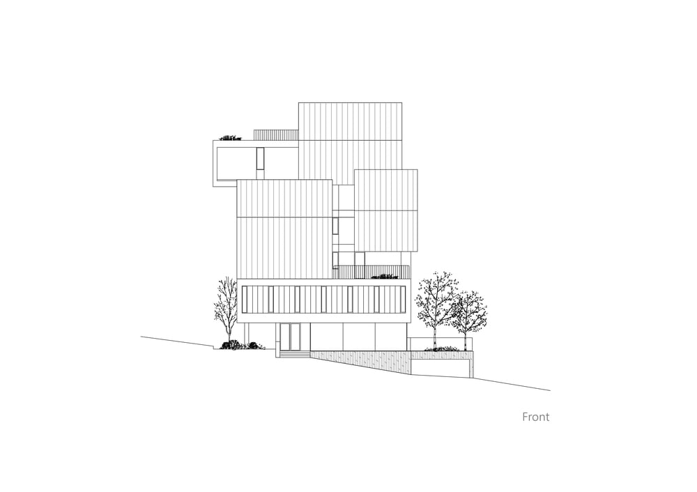 This is an illustration of the house's front elevation.