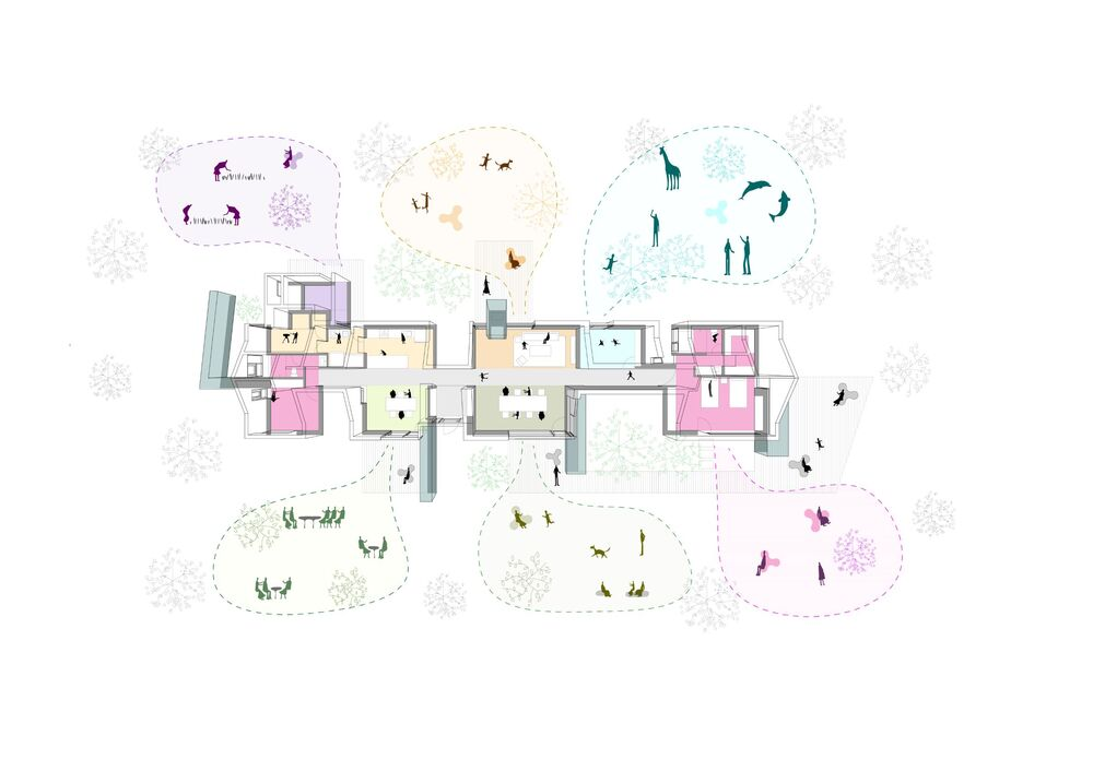 This is a colorful illustration of the house's floor plan diagram.