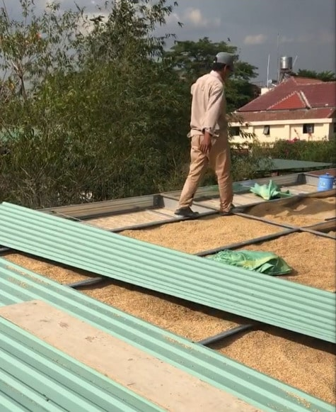 This is a close look at the roof construction while the insulation is being placed.
