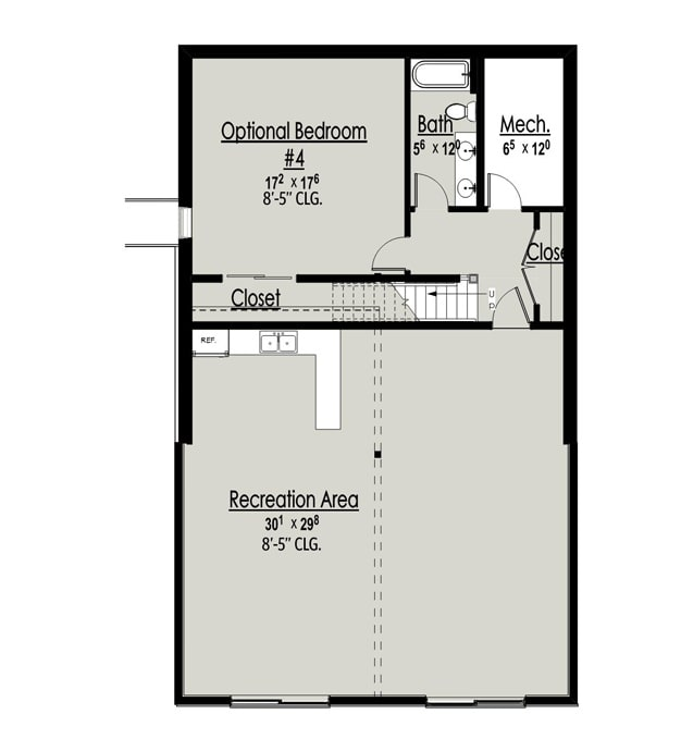 lower level floor plan with another bedroom, a full bath, and a massive recreation area.