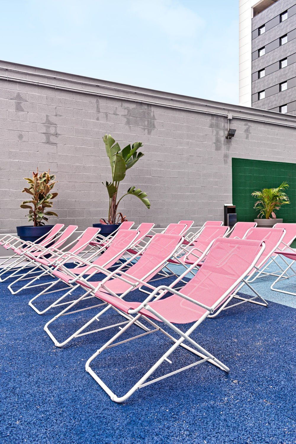 These lounge chairs are adorned with a row of potted plants on the side of the exterior wall.