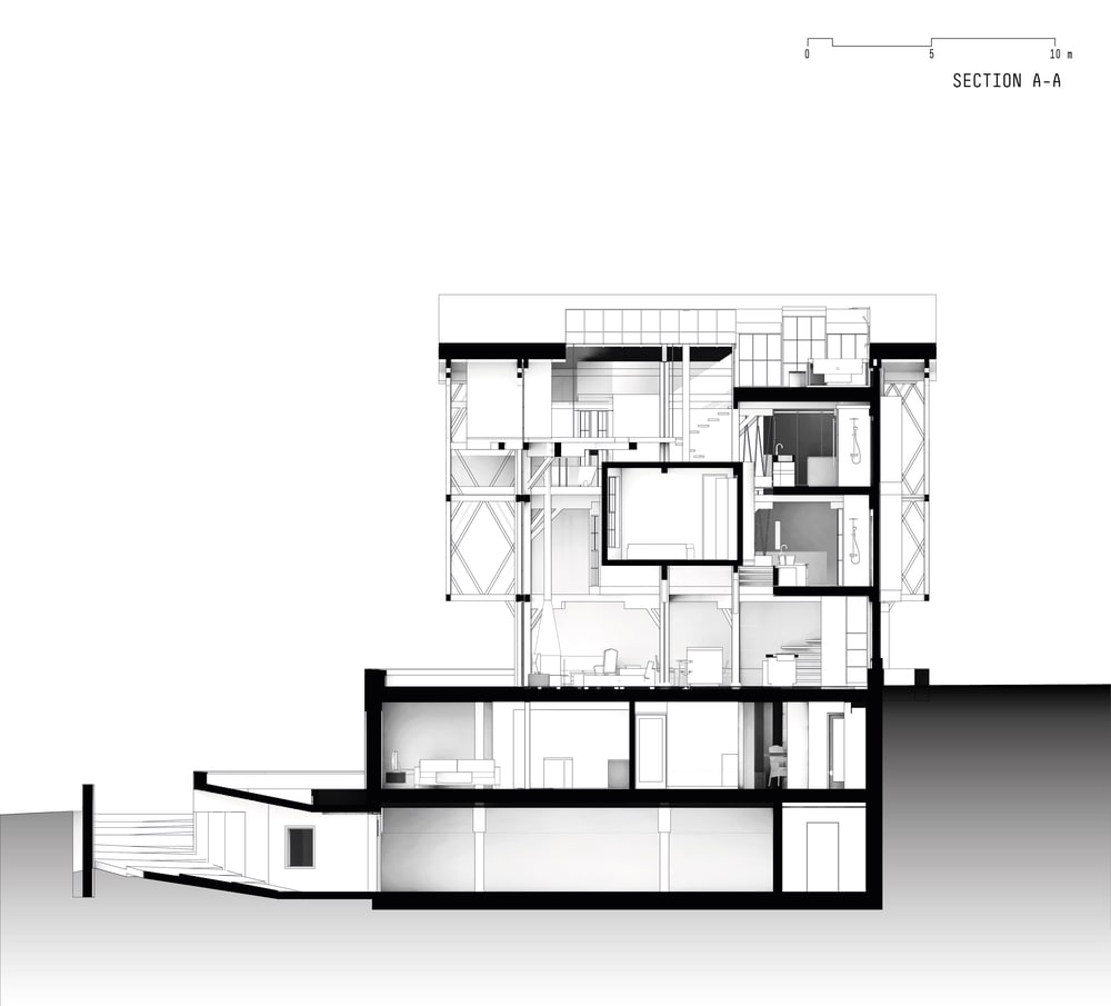 This is an illustration of the house's elevation with sections of the house.