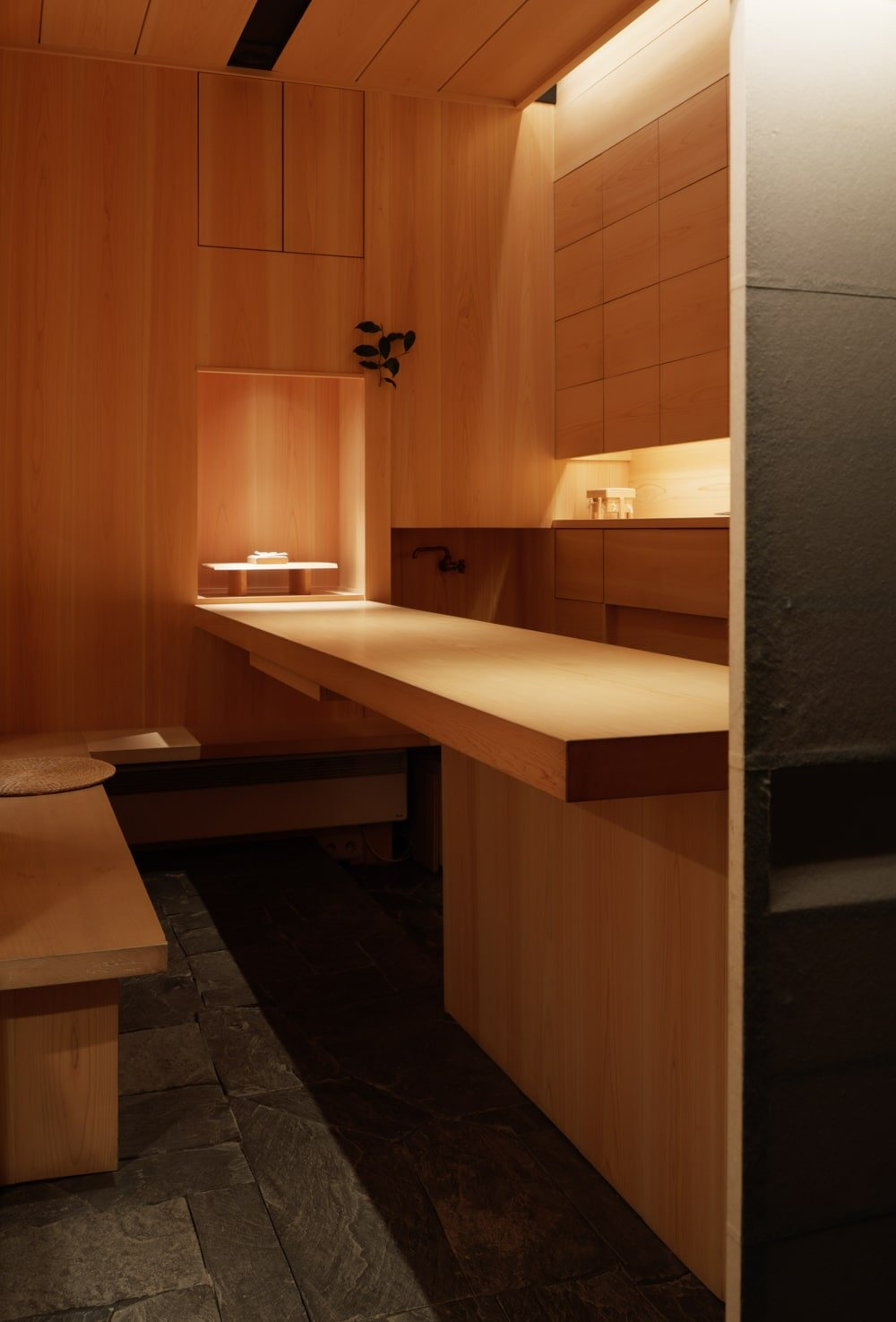 The main store has wooden structures that are built into the wooden walls giving the room a consistent tone.