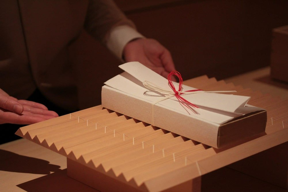 This is a close look at the store's specialty which is origata style wrapping.