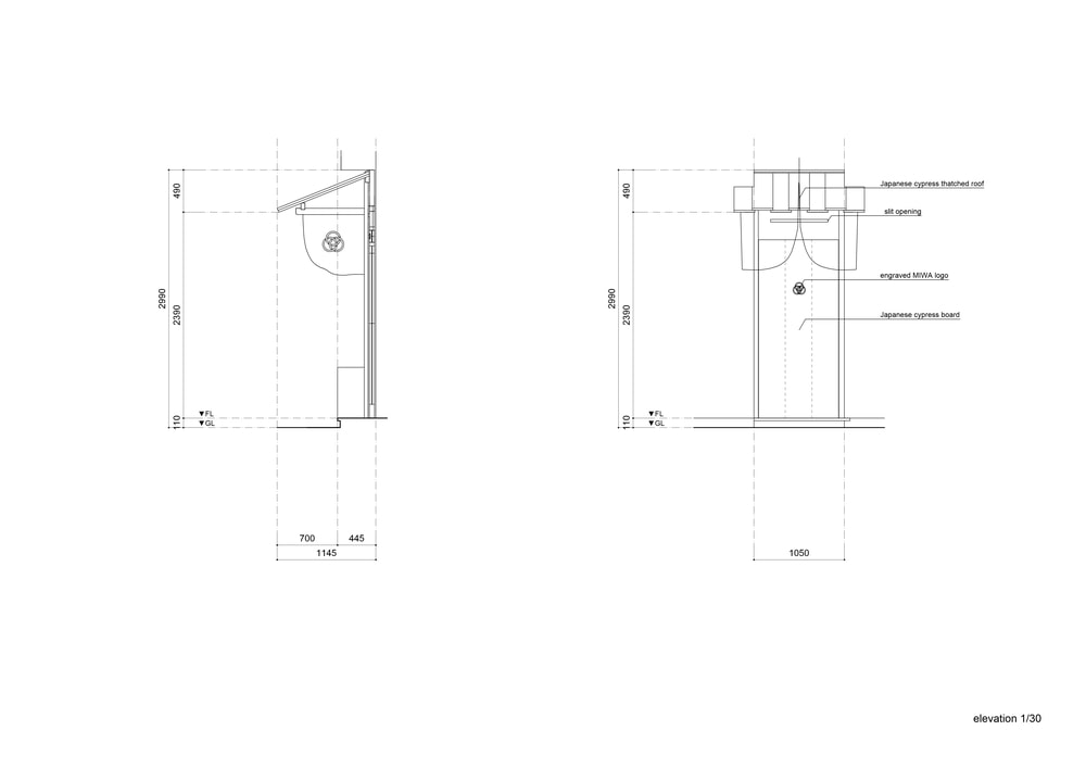 This is an illustration of the store's main door with measurements and labels.