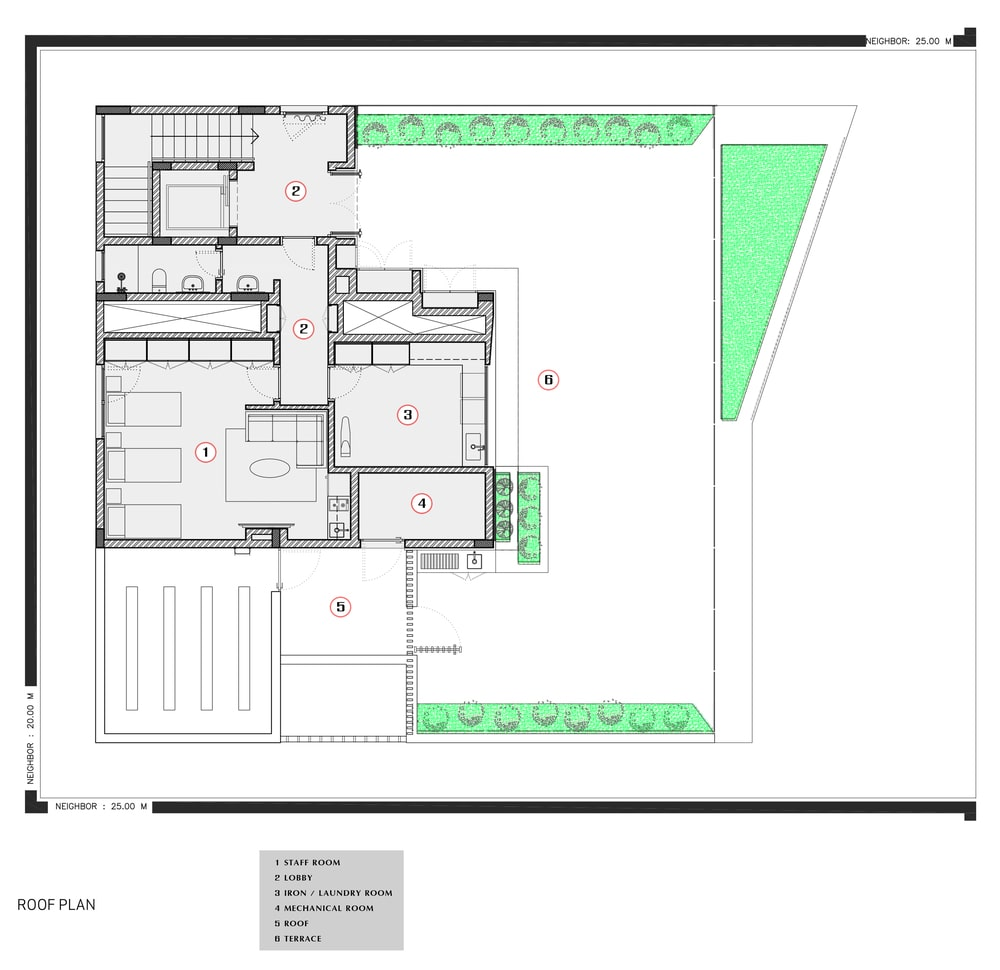 This is an illustration of the house's rooftop level floor plan.
