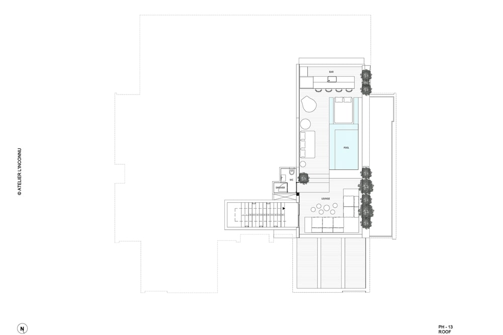 This is an illustration of the pool level floor plan.
