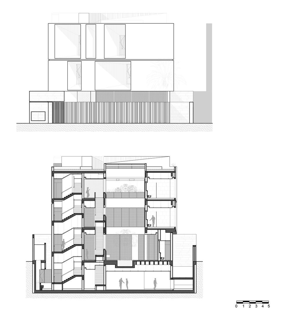 This is an illustration of the side elevation cross section of the house showcasing the sections of the house.