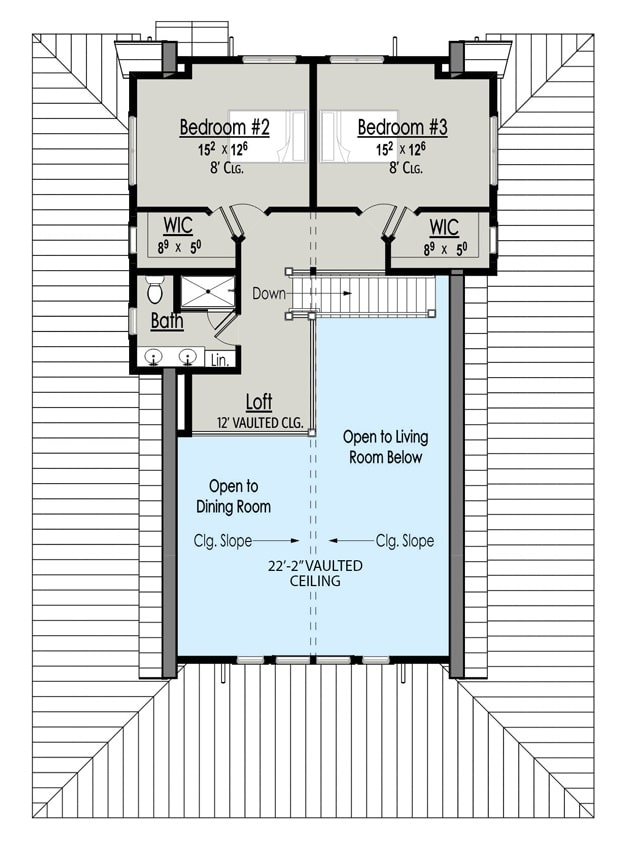 Second level floor plan with two bedrooms, a full bath, and a loft.
