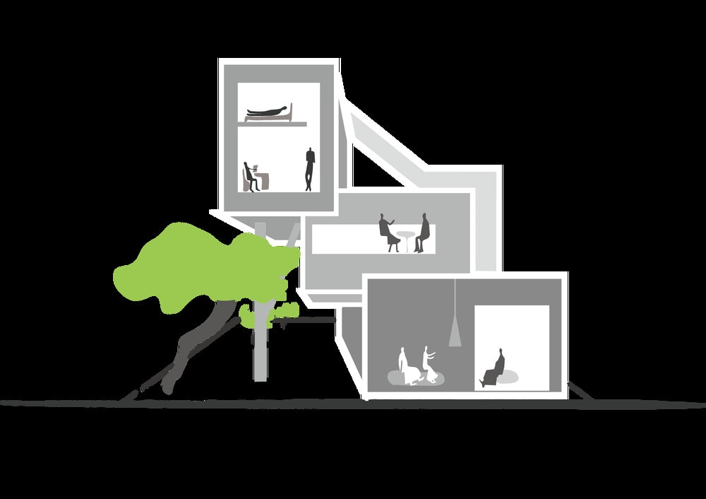 This is an illustration of the house depicting the process and diagram of the house's design.