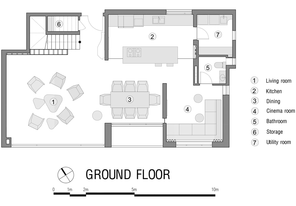 This is an illustration of the house's ground level floor plan.