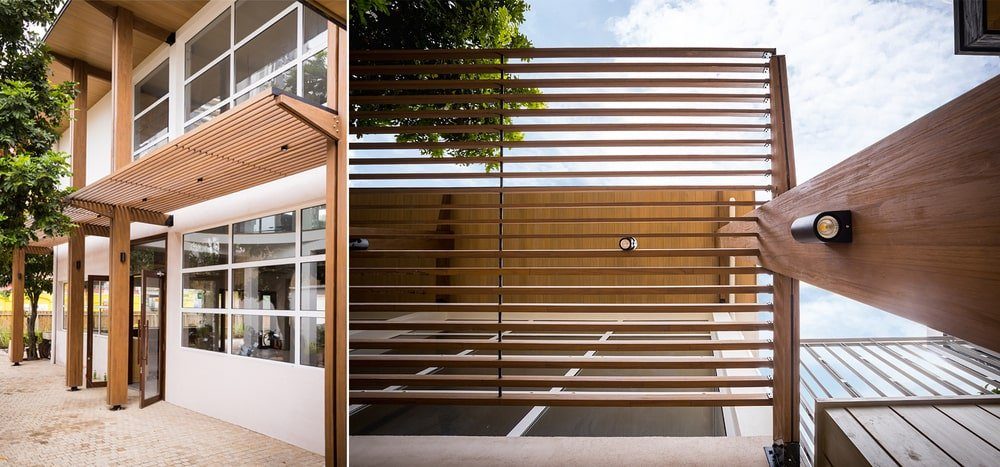 This dual view of the structure showcases the modern lighting that stands out against the wooden tone.