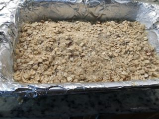 Next is a layer of oats over the apricot.