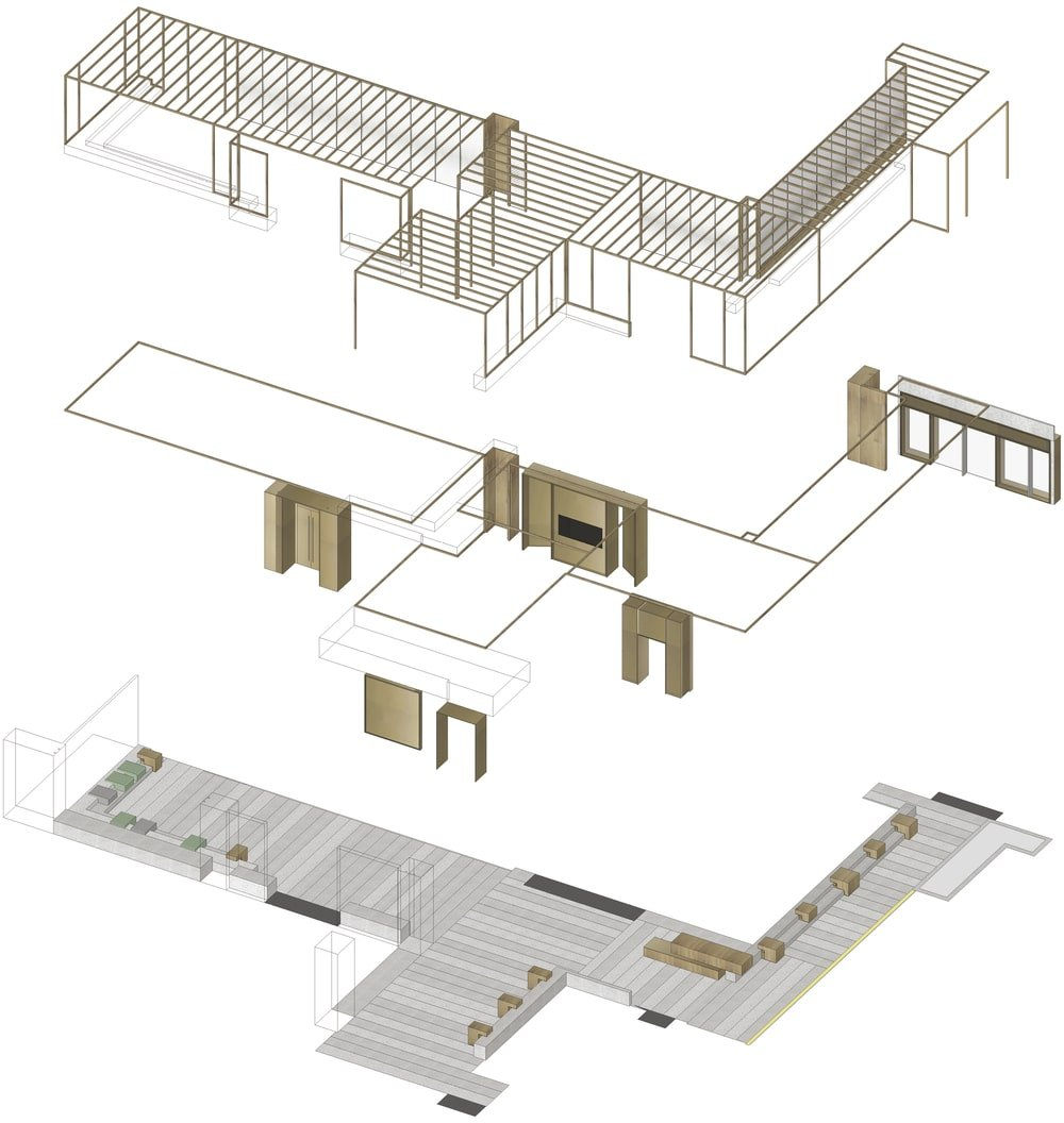 This is an illustration of the floor plan and axonometric analysis diagram isolating the different sections and parts.