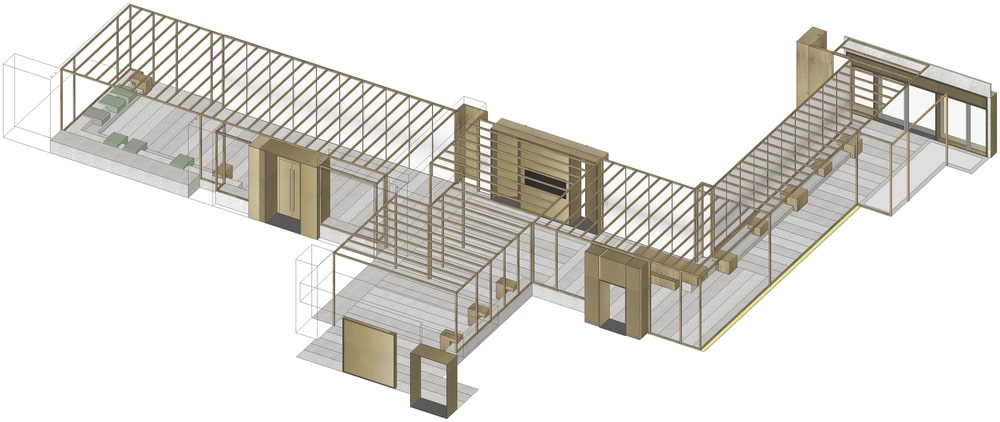 This is an illustration of the floor plan showcasing the axonometric space.