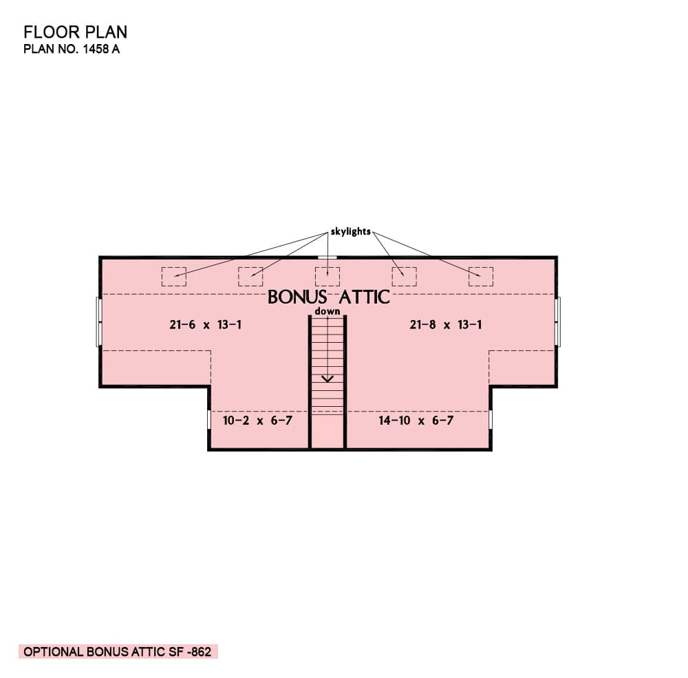 Third level floor plan showing the attic space brightened by skylights.