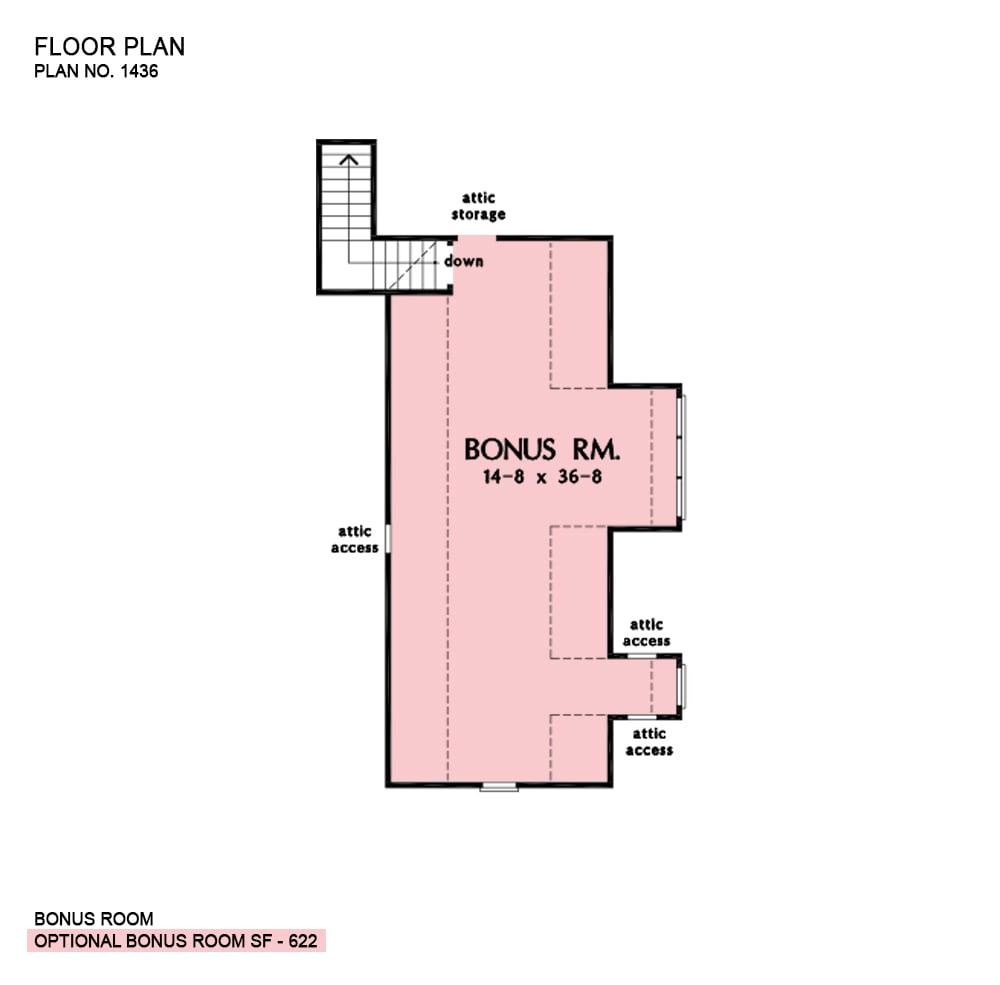 Bonus level floor plan with attic access and storage.