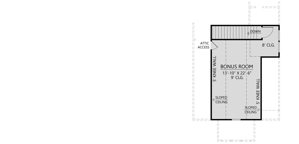 Bonus level floor plan with sloped ceiling and a staircase leading down the main level.