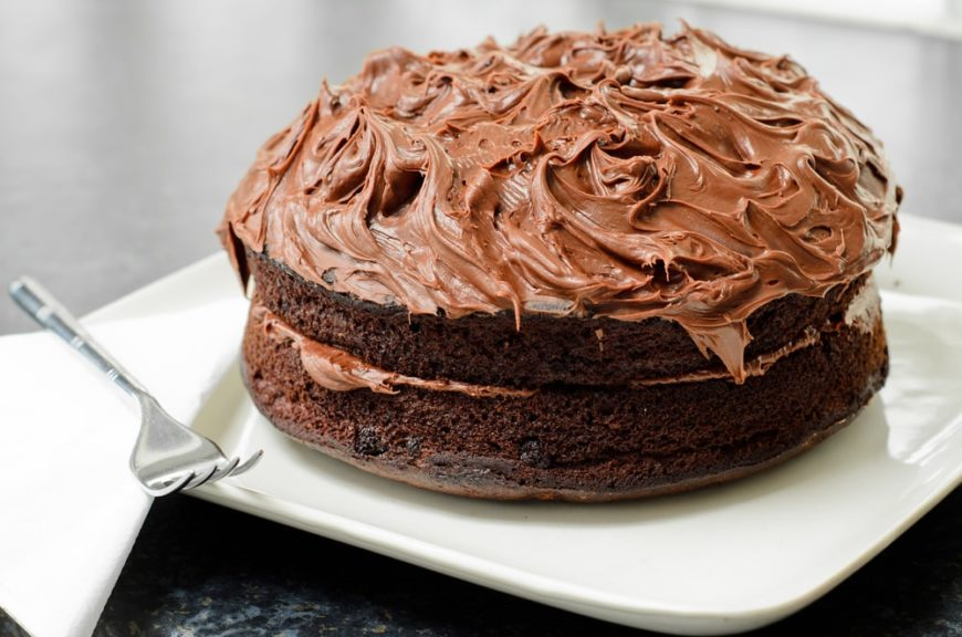 A double-decker Dr. Pepper Cake with chocolate frosting.