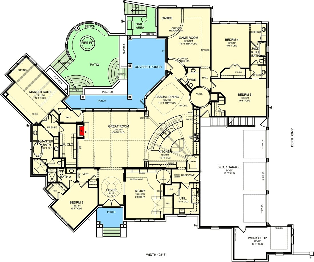 Entire floor plan of a single-story 4-bedroom hill country home with grand foyer, great room study, kitchen, dining area, game room, and plenty of outdoor spaces.