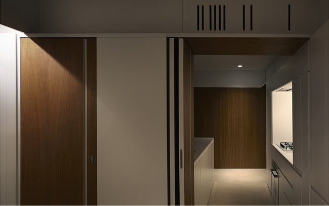 This room can also be closed off with another door that leads to the living room and dining area.