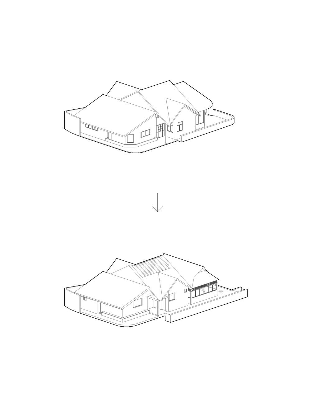This is an illustration of the house depicting the structure renovated before and after the renovation.