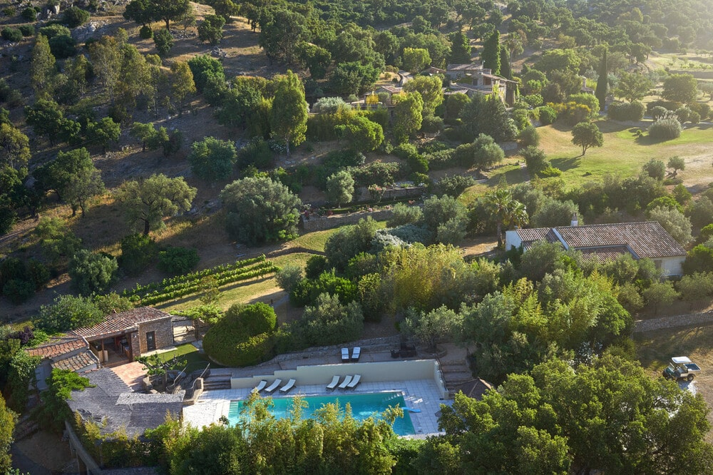 This is an aerial view of the property showcasing the swimming pool area surrounded by tall trees. Image courtesy of Toptenrealestatedeals.com.