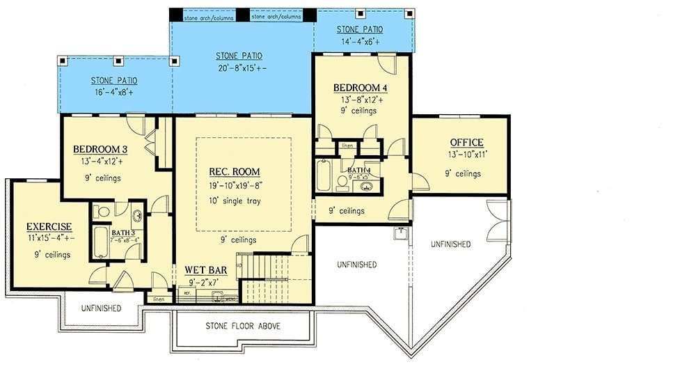 Lower level floor plan with two bedrooms, exercise room, office, and a recreation room with wet bar.