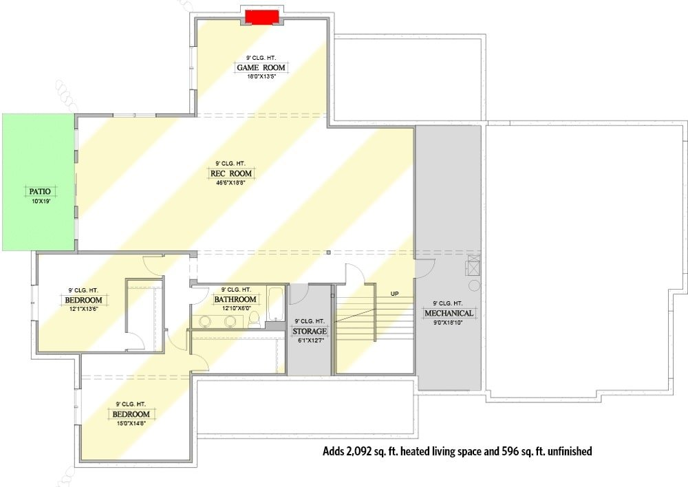 Second level floor plan with three bedrooms, two baths, and plenty of decks.