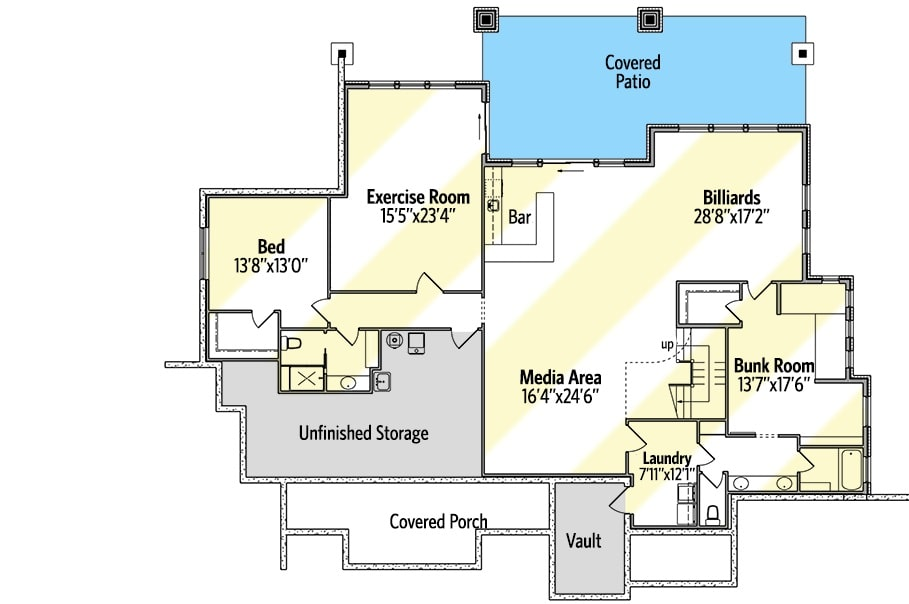 Lower level floor plan with an additional bedroom, exercise room, media area, billiards room, bunk room, and a full laundry room.