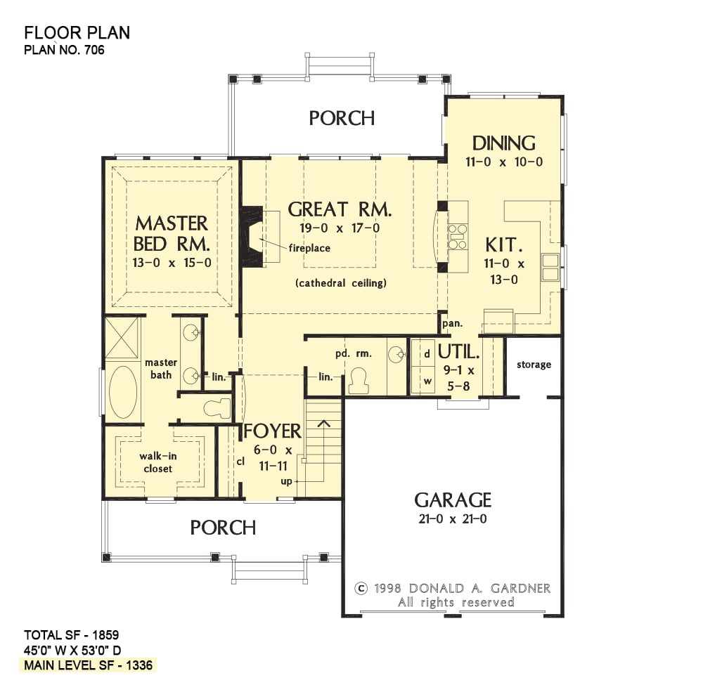 Main level floor plan of a 3-bedroom two-story The Courtney cottage home with front and rear porches, foyer, great room, kitchen, dining area, primary suite, and utility room that opens to the garage.