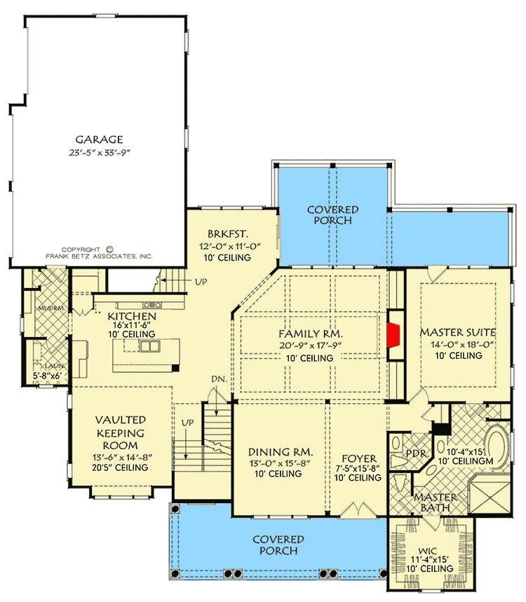 Main level floor plan of a 4-bedroom two-story modern farmhouse with front and rear porches, foyer, formal dining room, family room, kitchen with breakfast nook, keeping room, primary suite, and a mudroom that opens to the garage.