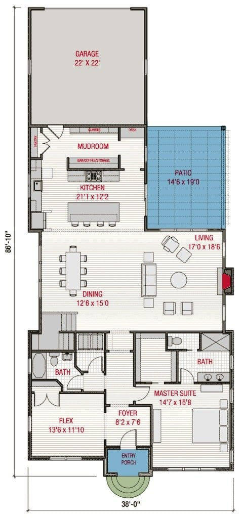 Main level floor plan of a 4-bedroom two-story traditional Tudor cottage with entry porch, foyer, flex room, living room, dining area, kitchen, primary suite, and mudroom leading to the rear garage.