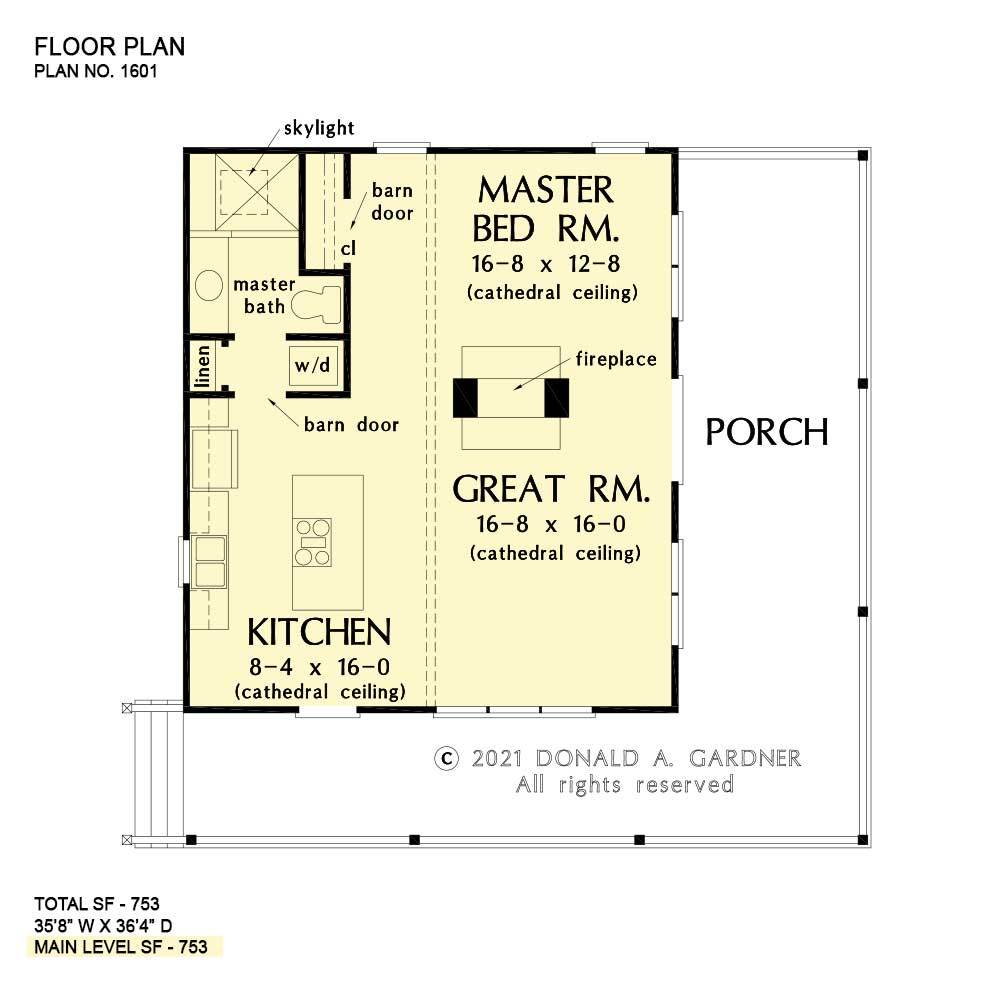Entire floor plan of a single-story 1-bedroom rustic-style The Dwight cabin with great room, kitchen, primary bedroom, and a wraparound porch.