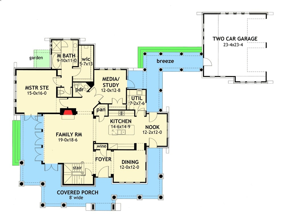 Main level floor plan of a two-story 3-bedroom cedar and stone cottage with foyer, formal dining room, kitchen with breakfast nook, familly room, media/study, primary suite, wraparound porch, and a breezeway leading to the detached garage.