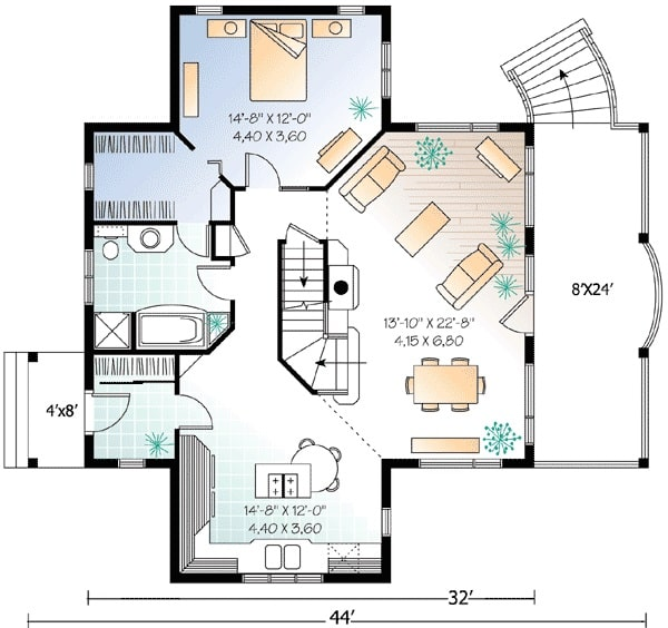 Main level floor plan of a two-story 3-bedroom country cottage with entry porch, living room, dining area, kitchen, and primary suite.