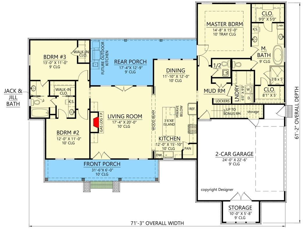 Main level floor plan of a two-story 3-bedroom modern farmhouse with front and rear porches, living room, kitchen, dining area, laundry room, and a mudroom leading to the double garage.