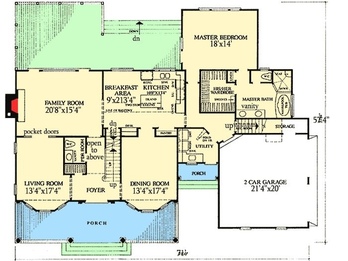 Main level floor plan of a two-story 4-bedroom Southern Belle home with front porch, foyer, living room, formal dining room, kitchen with breakfast area, primary suite, and a family room that extends to the rear deck.
