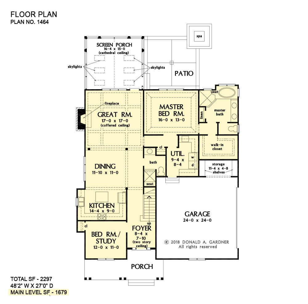 Main level floor plan of a two-story 4-bedroom The Justine modern farmhouse with front and screened porches, foyer, great room, kitchen, dining area, primary suite, and utility room that opens to the garage.