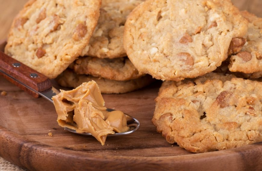 A close look at a batch of peanut butter cookies.