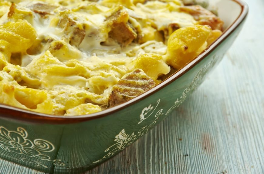 This is a close look at a fresh philly cheesesteak casserole.